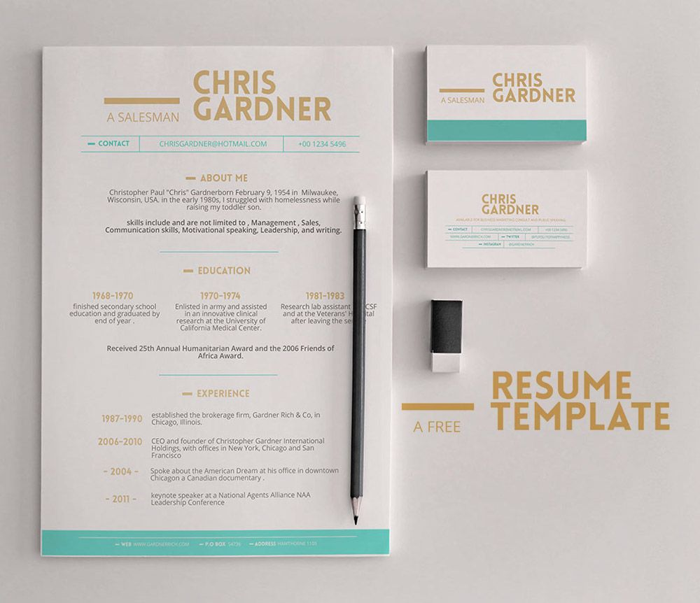 download minimalistic free resume and business card