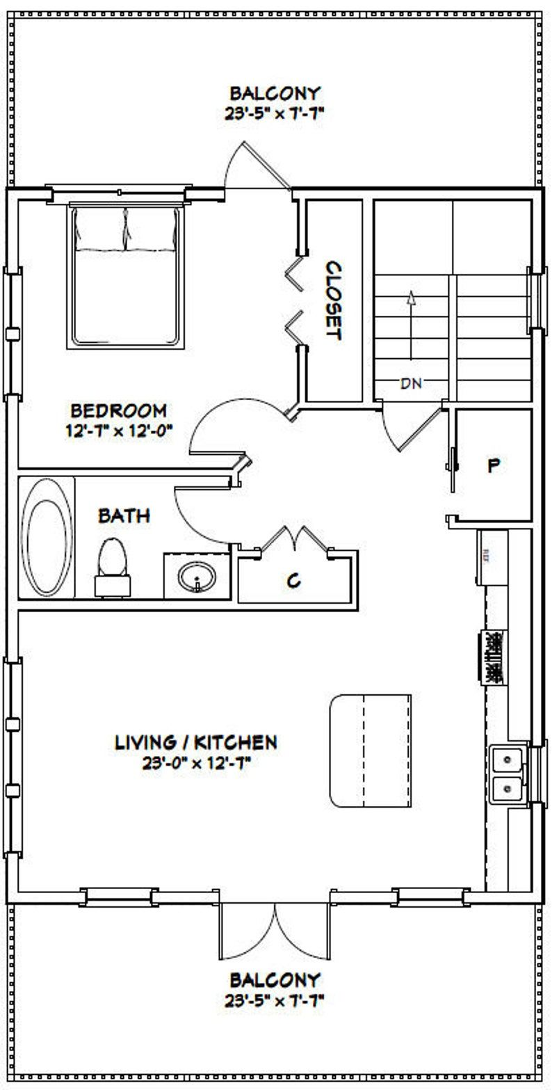 24x32 House 1Bedroom 1.5Bath 830 sq ft PDF Floor Etsy