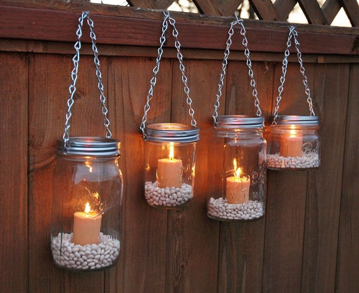 9 Inspiring Outdoor Spaces Mason jar garden Hanging mason jars