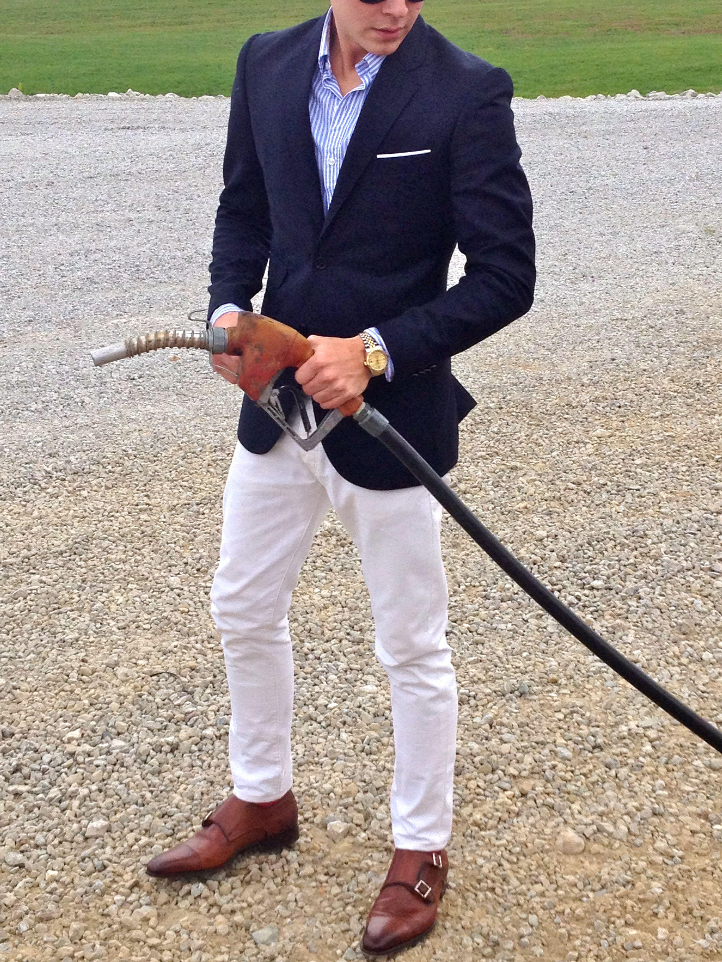 White Jeans, Blue Shirt and Blue Blazer | Clothes | Pinterest ...