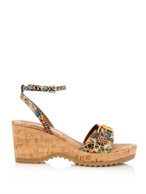 Stella McCartney Linda python-print wedge sandals