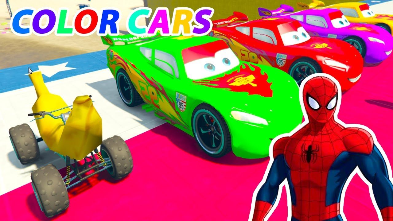 Learn Colors For Children Banana Car Mcqueen In Spiderman Cartoon Vide