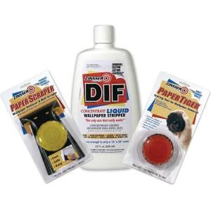 Zinsser Dif Wallpaper Remover Kit With 22 Oz Concentrate Paper Scraper And Paper Tiger Discontinued 182645 The Home Depot Dif Wallpaper Remover Removable Wallpaper Removing Old Wallpaper
