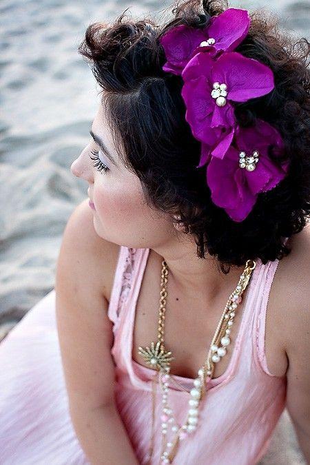 Magenta Purple Orchids floral bridal headband by PetalAndThorn, $80.00