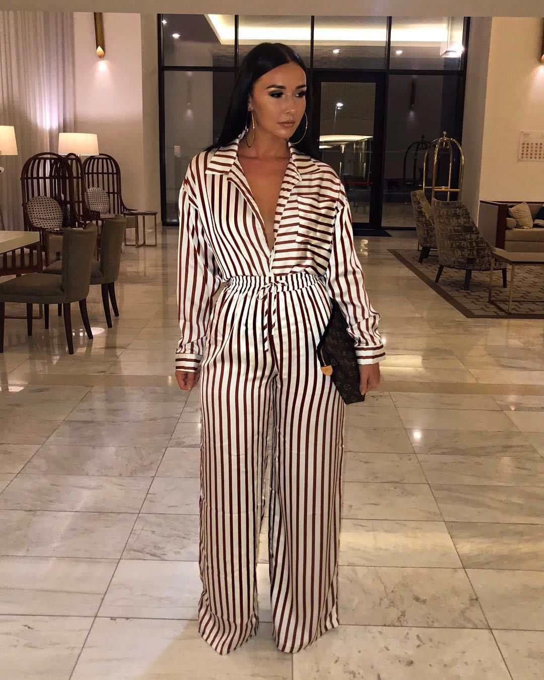 """afd77218eeb MISSGUIDED on Instagram  """"The date-night approved jumpsuit ✓ 🍷 Shop   ruby190 s  white satin striped utility jumpsuit  on site for £35 now ..."""