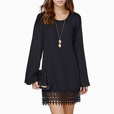 60aea898b7a59 Bayanlar Salaş Günlük Elbise Solid Diz üstü Yuvarlak Yaka Polyester / Şifon  / Dantel 2016 – $9.99