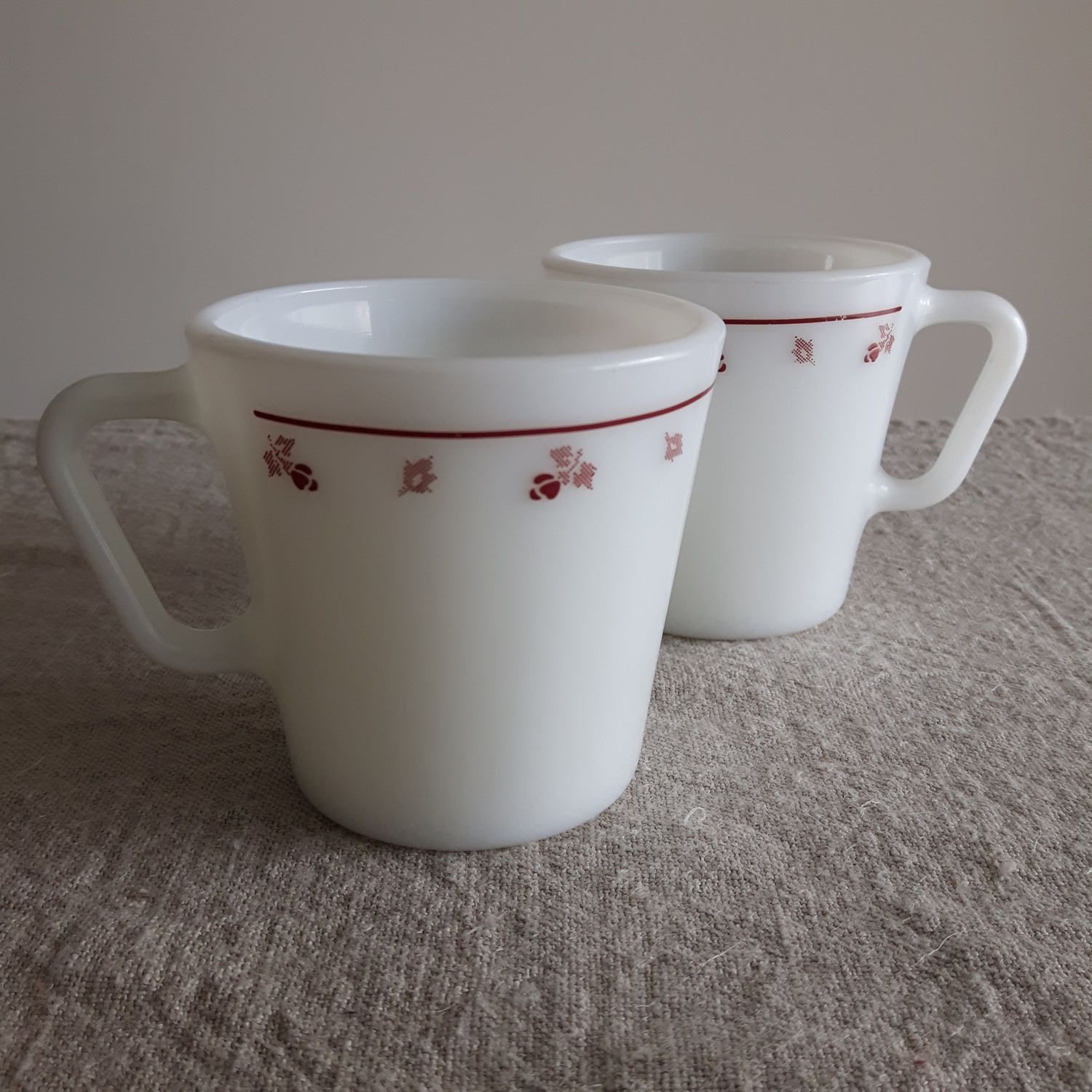 office coffee cups. Pyrex Coffee Mugs (2 In Stock), Burgundy Rose Needlepoint Pattern // Kitchen Office Cups G
