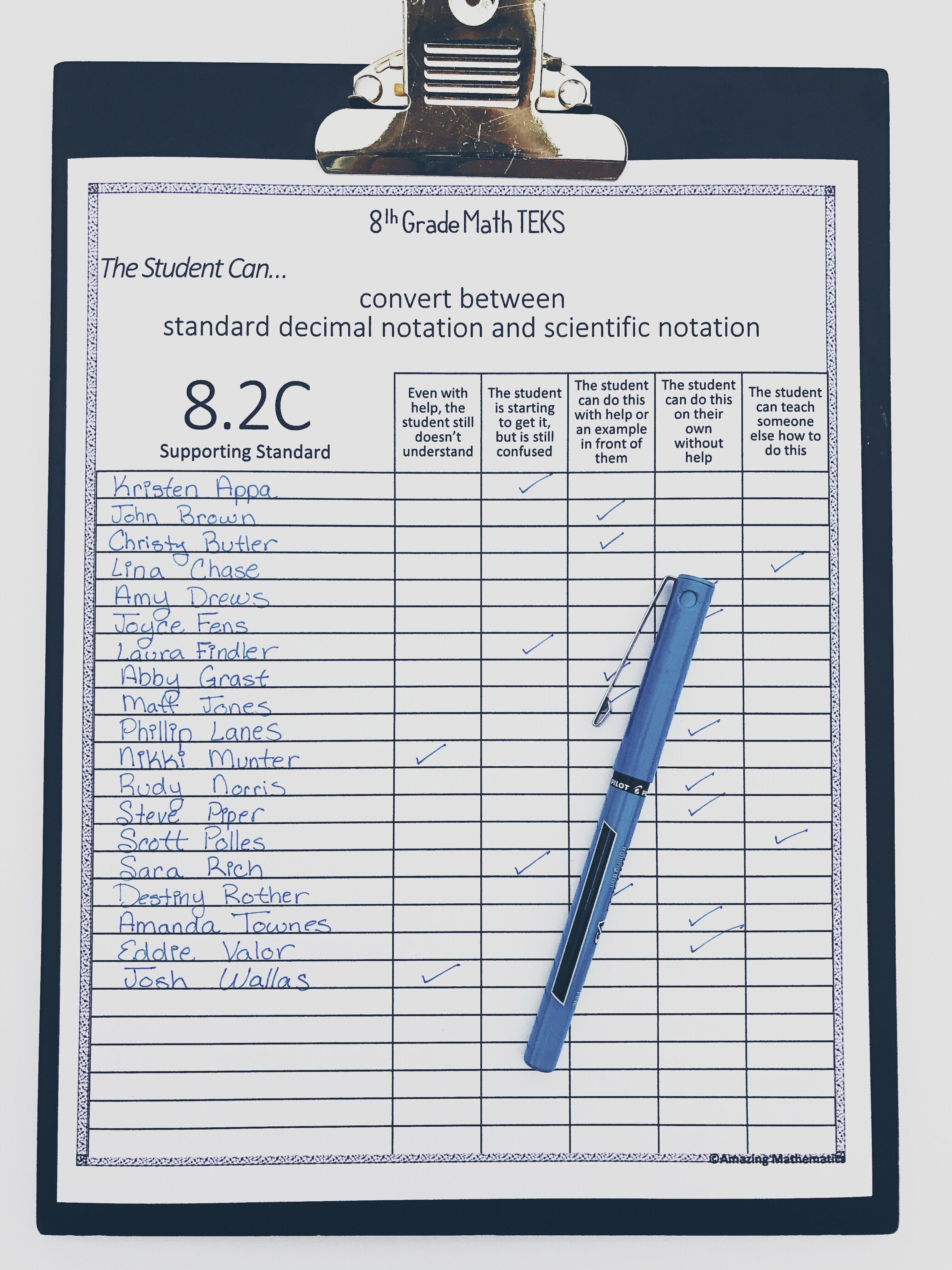 8th Math Teks Checklist