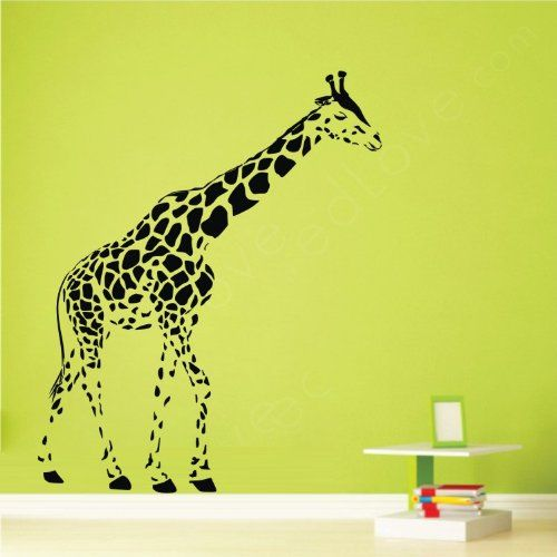 """colorfulhall 23.6"""" x 47.2"""" black giraffe wall decal for kid's"""