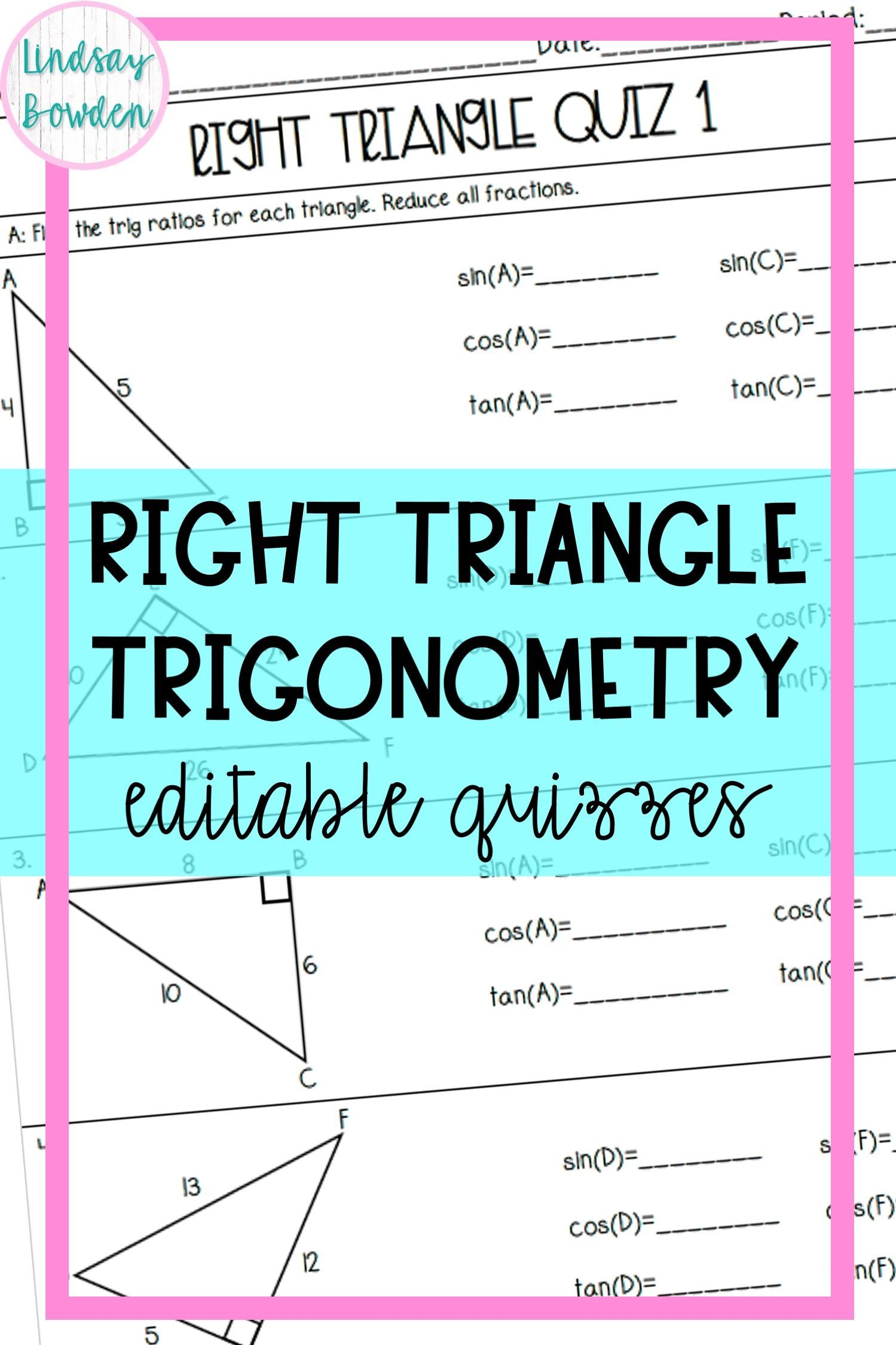 Right Triangle Trigonometry Quizzes In 2020 Trigonometry Word Problems Right Triangle