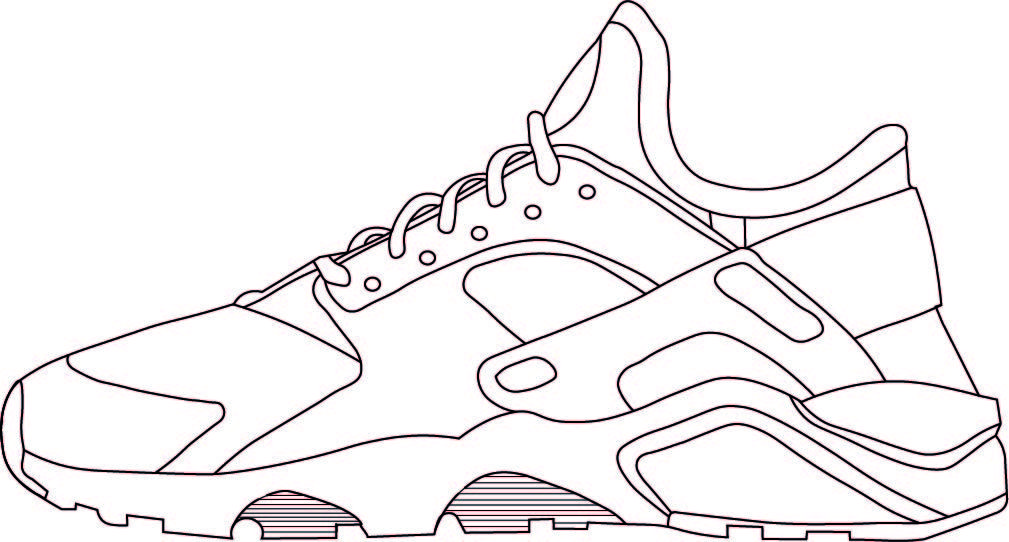 Trainer Outline Shoe Template Templates Art Reference Poses
