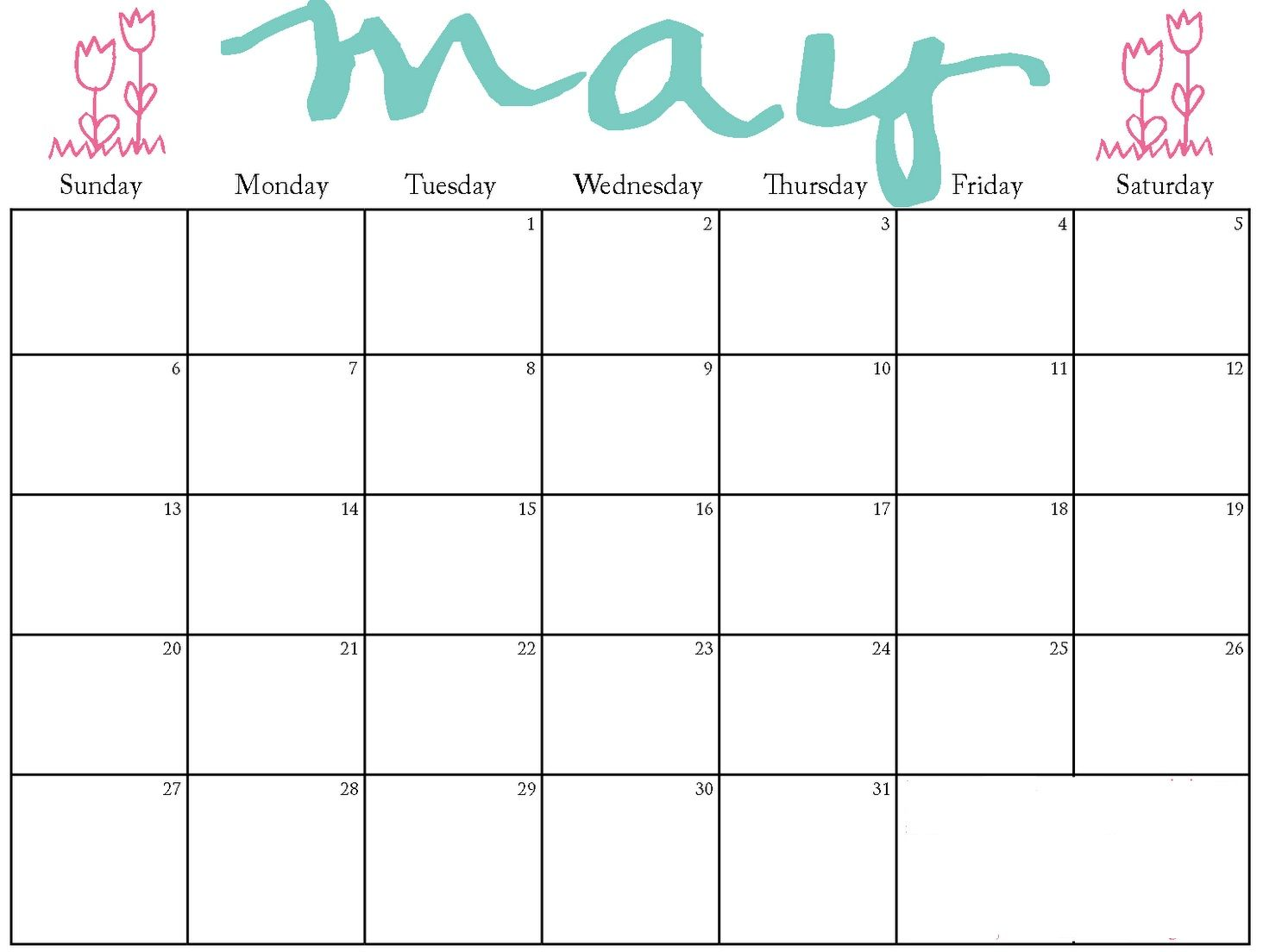 May Kg Kids Calendar