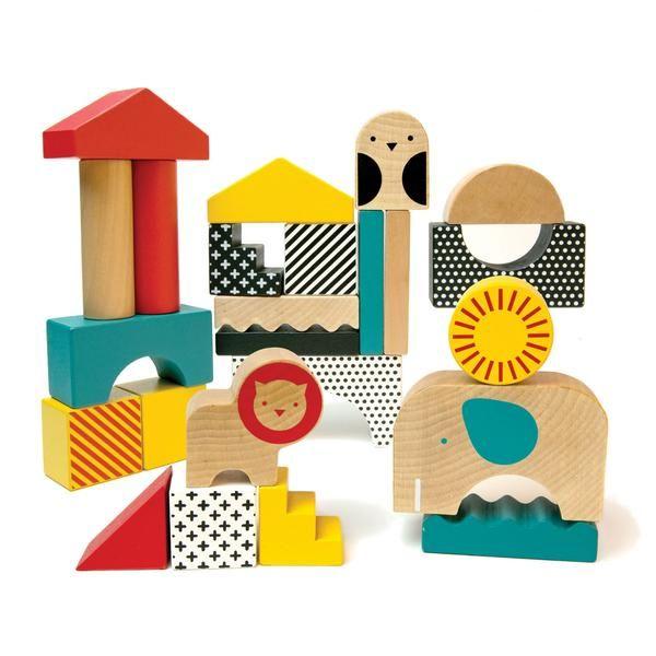 Wooden Animal Town Building Blocks Wooden Building Blocks Petit Collage Wooden Blocks