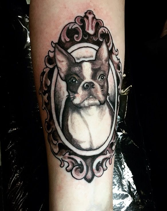 Victorian Framed Puppy Portrait Tattoo Done By Lannigantattoos