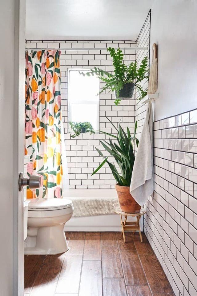 Subway Tile And Wooden Floor Hid360 Com White Apartment Bathroom Decor House Design