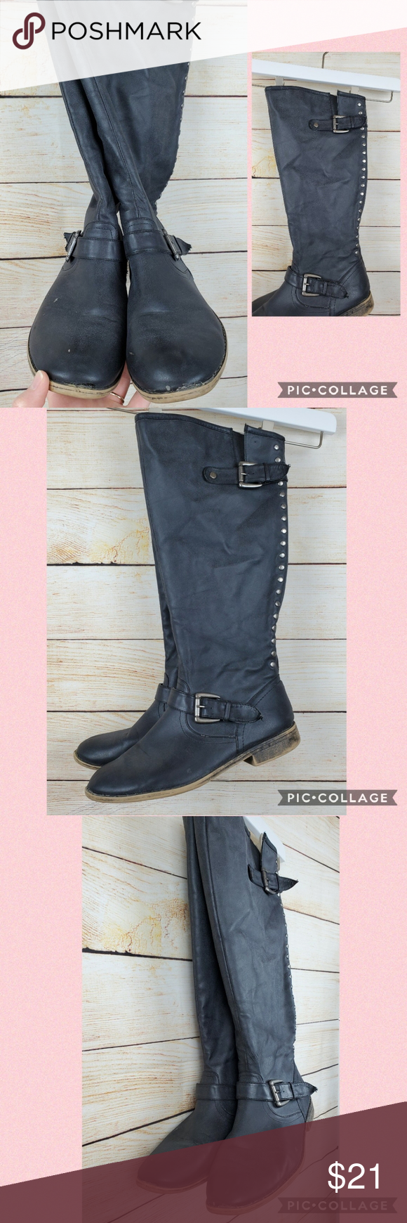 Madden Girl Black Tall Boots size 11 in