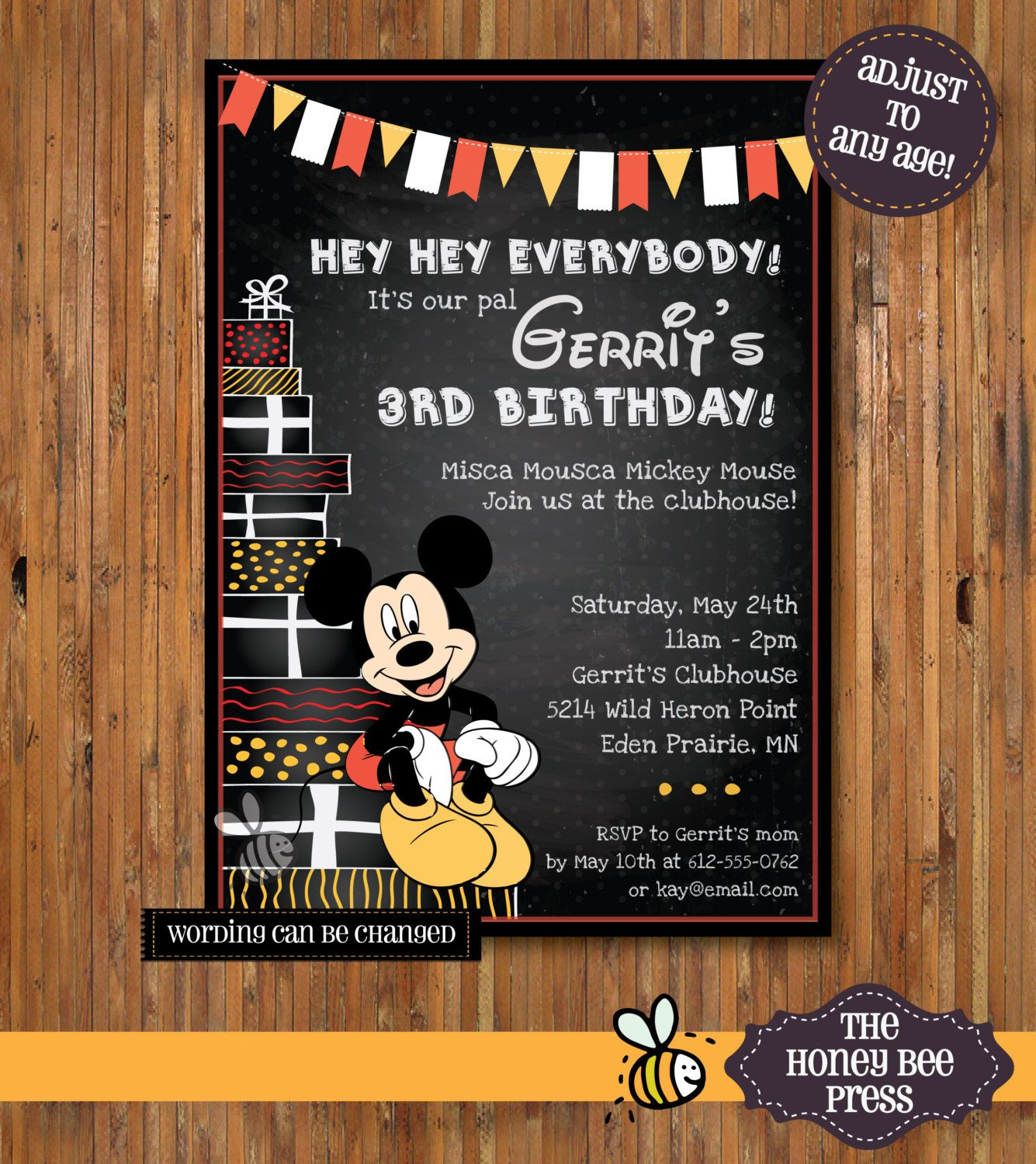 Mickey Mouse Birthday invitation 1st 2nd 3rd 4th 5th ANY AGE