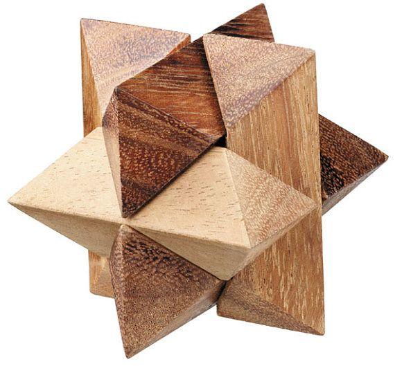 Star Puzzle 3d Wooden Interlocking Brain Teaser Puzzle Wood