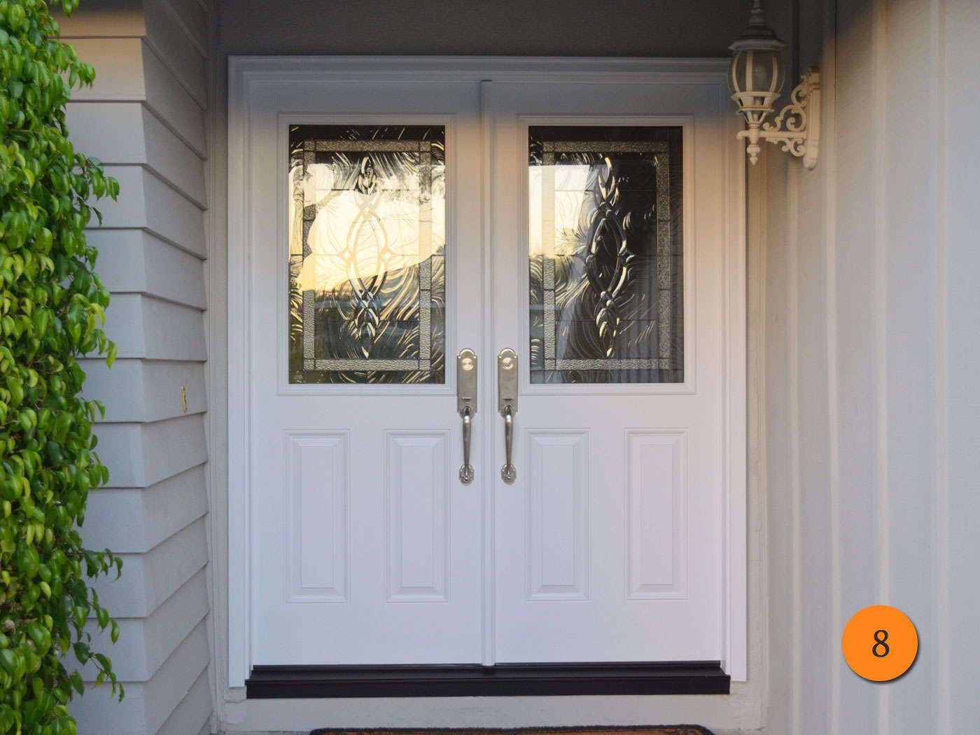 Fiberglass double entry doors with glass