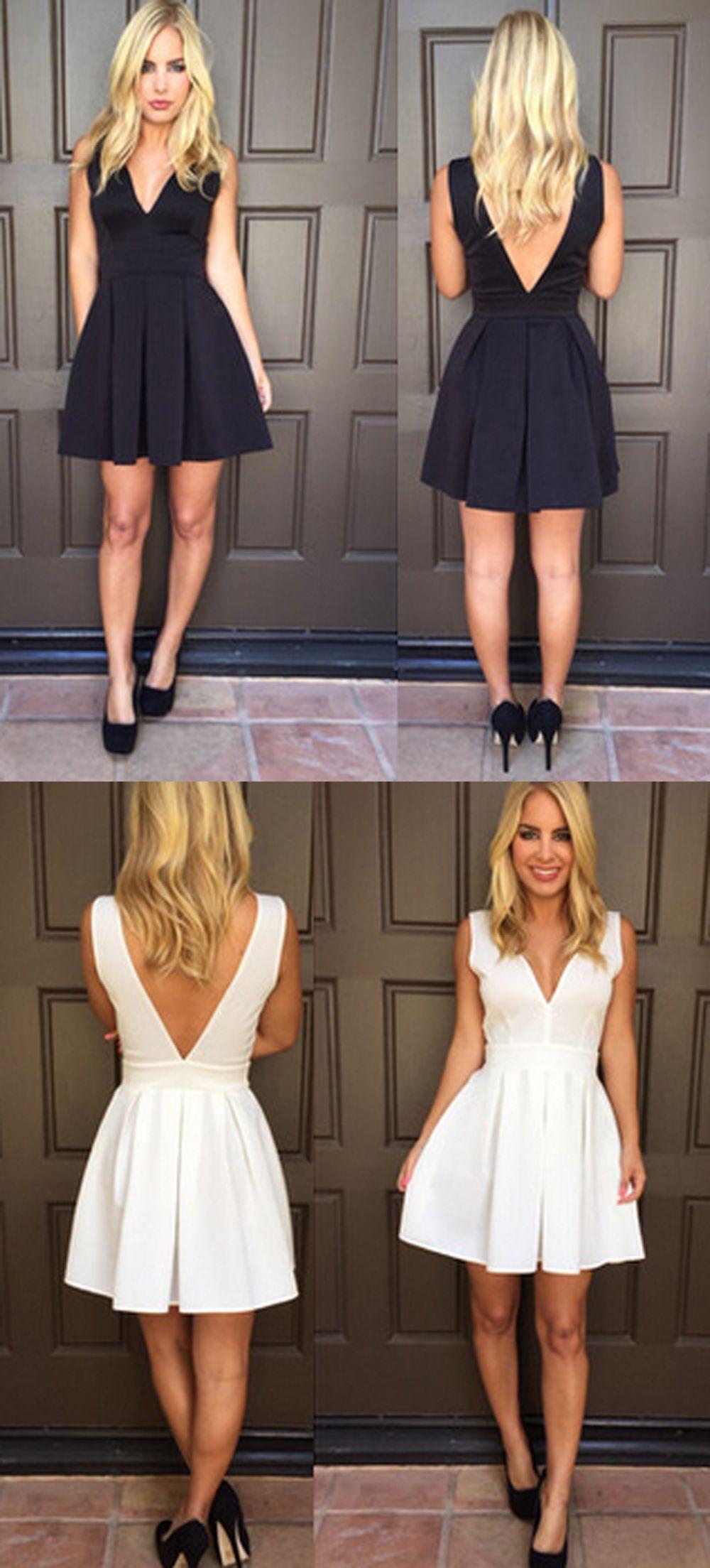 Aline vneck vback black white satin homecoming dress dress