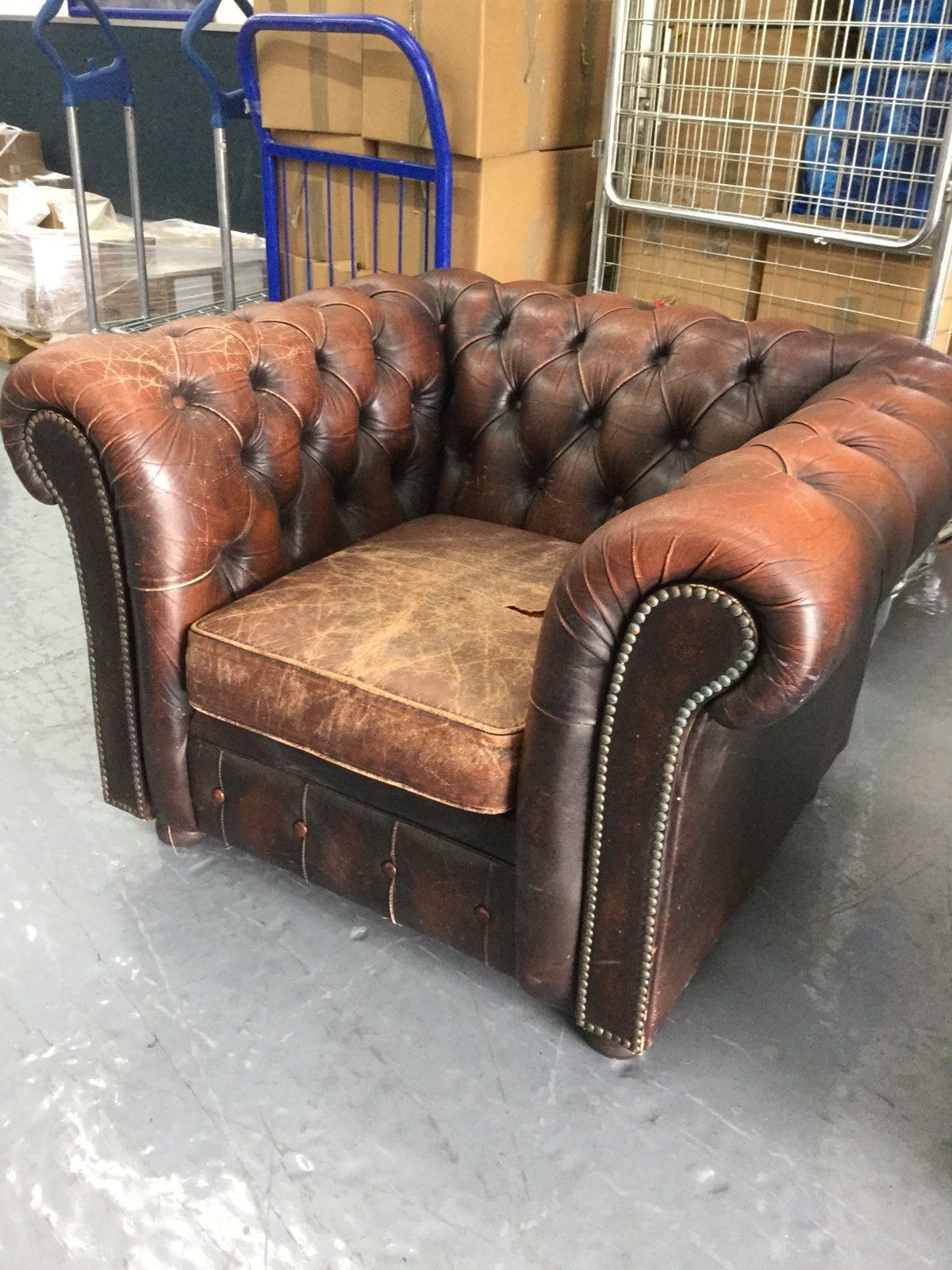Vintage Victorian Antique Style Leather Chesterfield Club