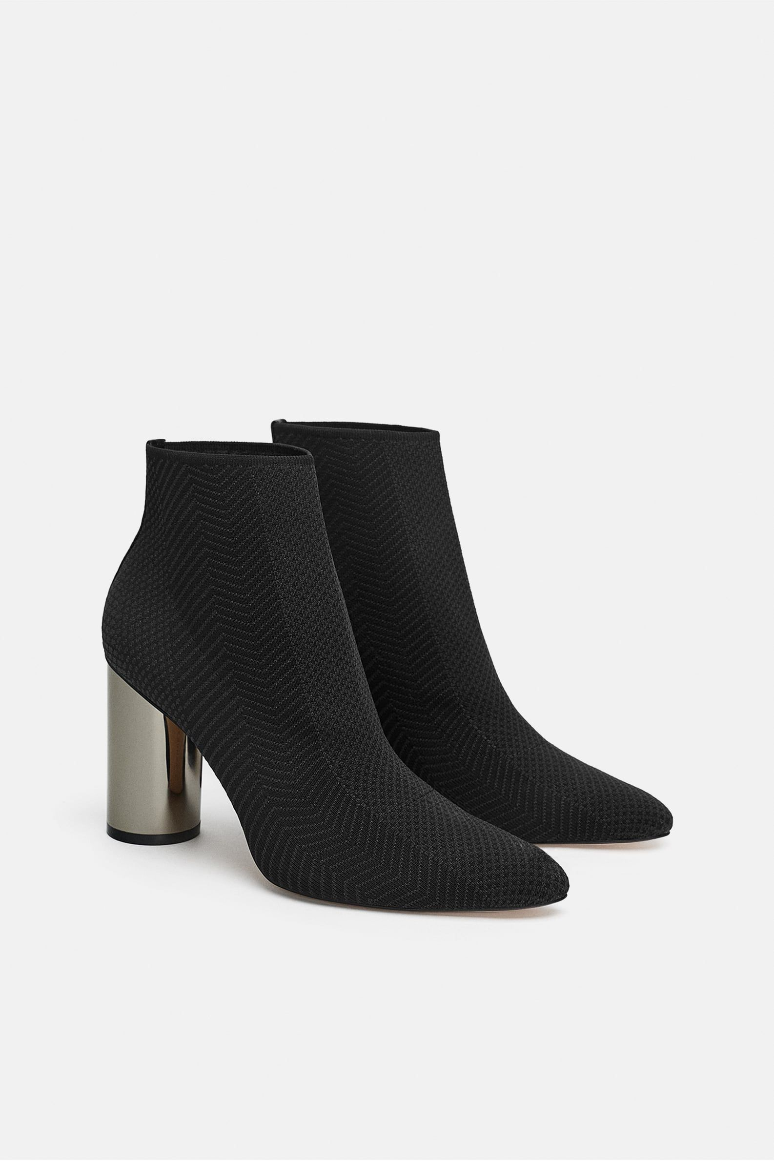 bf0ed74deaf41 Fabric ankle boot with metallic heel in 2019 | Materials | Zara ...