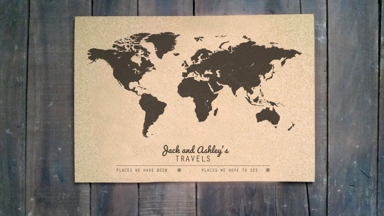 Cork Push Pin Travel Map X CUSTOMIZED WORLD MAP - 16x20 world map