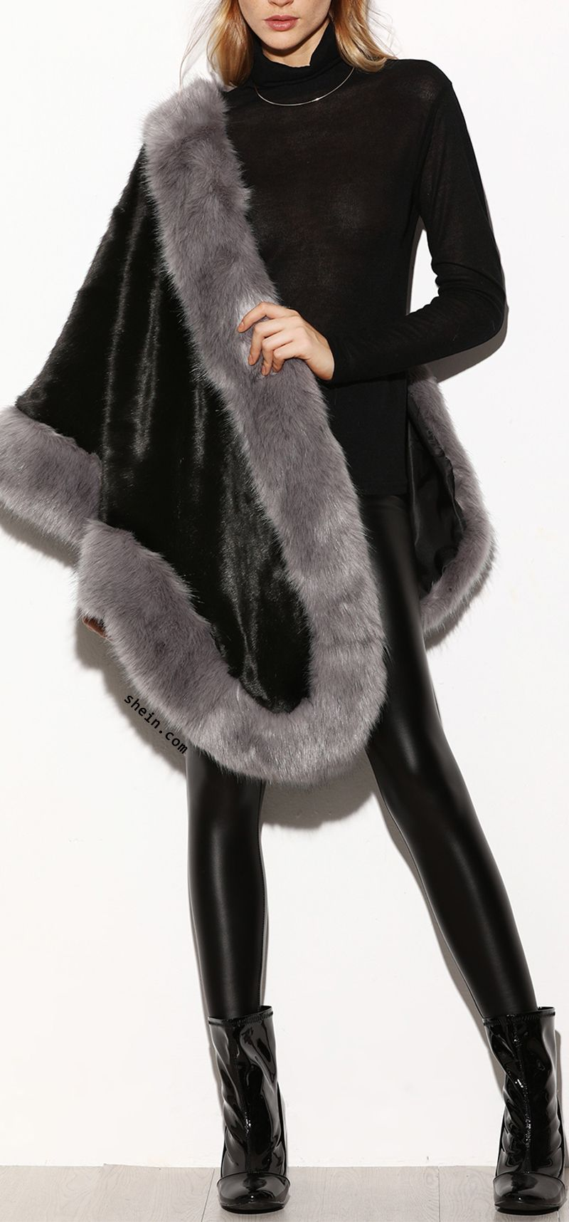 Luxury style-Faux Fur Poncho Coat.