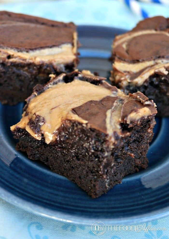 Gooey Peanut Butter Brownies With A Fudgy Base | The Foodie Affair