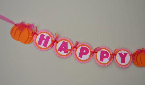 Girly Pumpkin Party Banner Pumpkin Patch Birthday by DesignsByDodi, $28.00