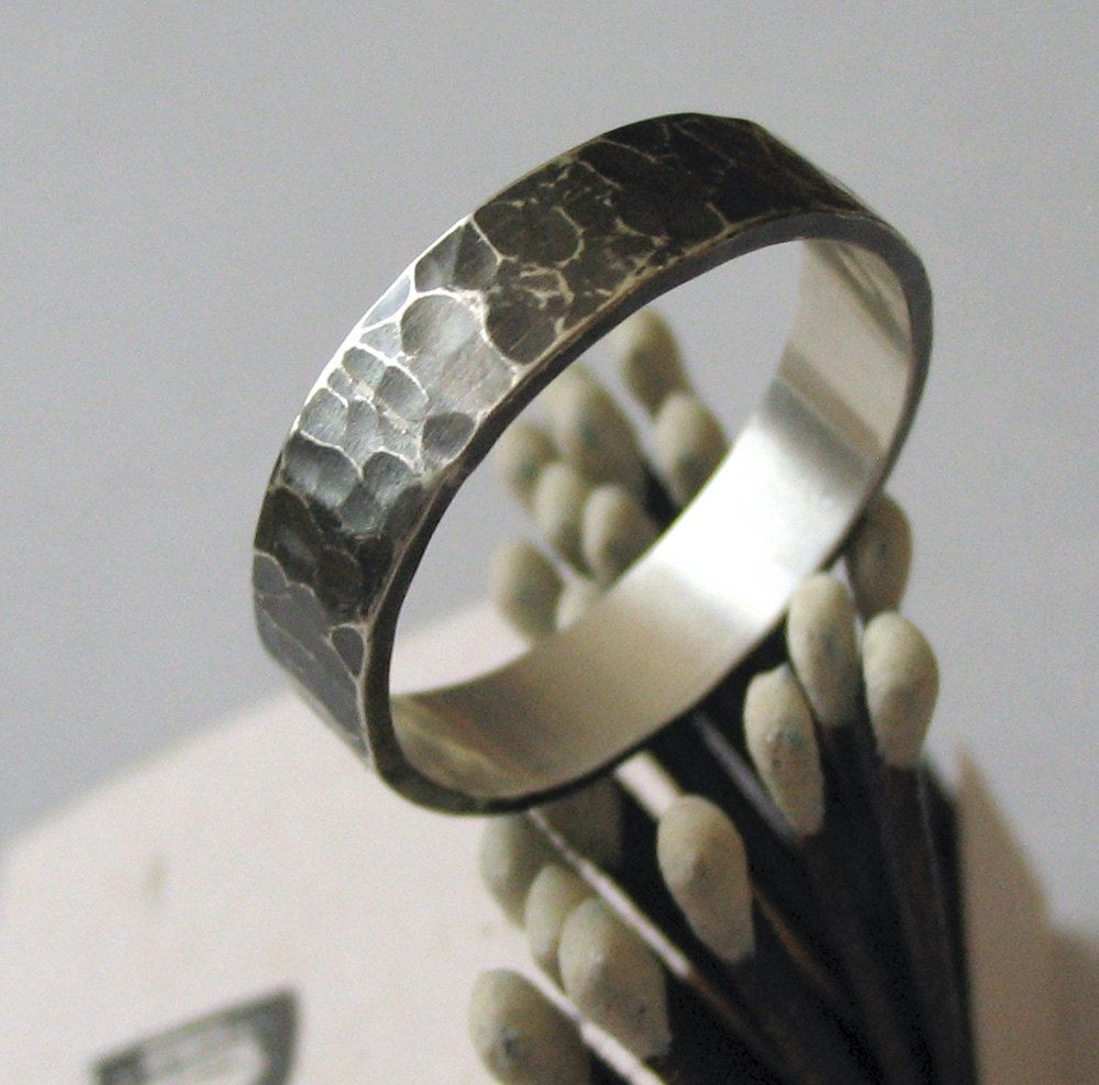 mens wedding ring wedding band sterling silver dark silver hammered texture