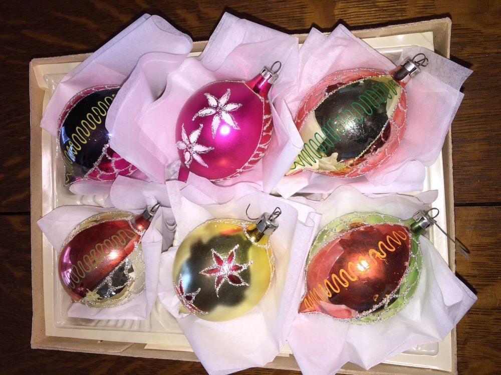 Vintage Box of Christmas Polish type Glass Ornaments