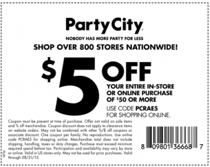 5 Off At Party City Repin And Get The Party Started Party City Printable Coupons Custom Banners