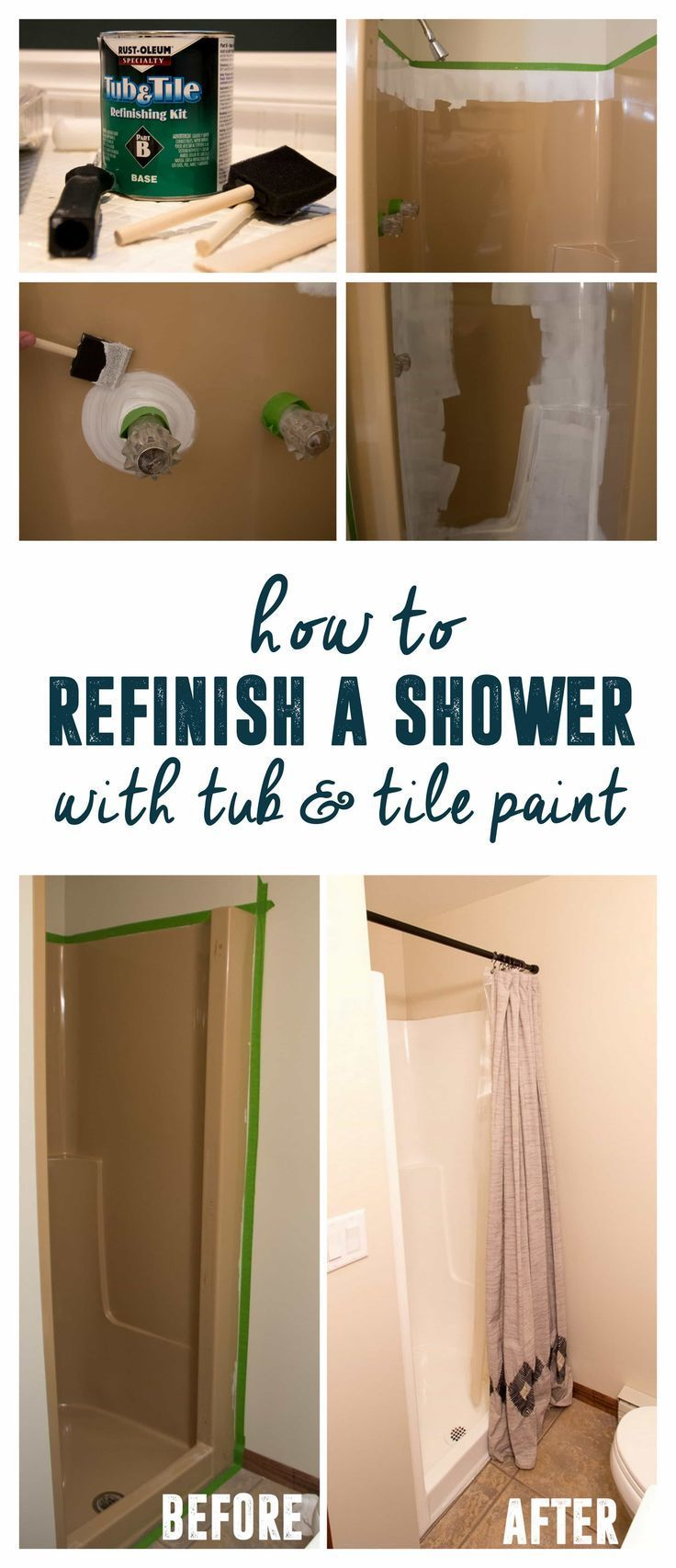 How to use Tub and Tile paint to Refinish a Shower | Tile painting ...