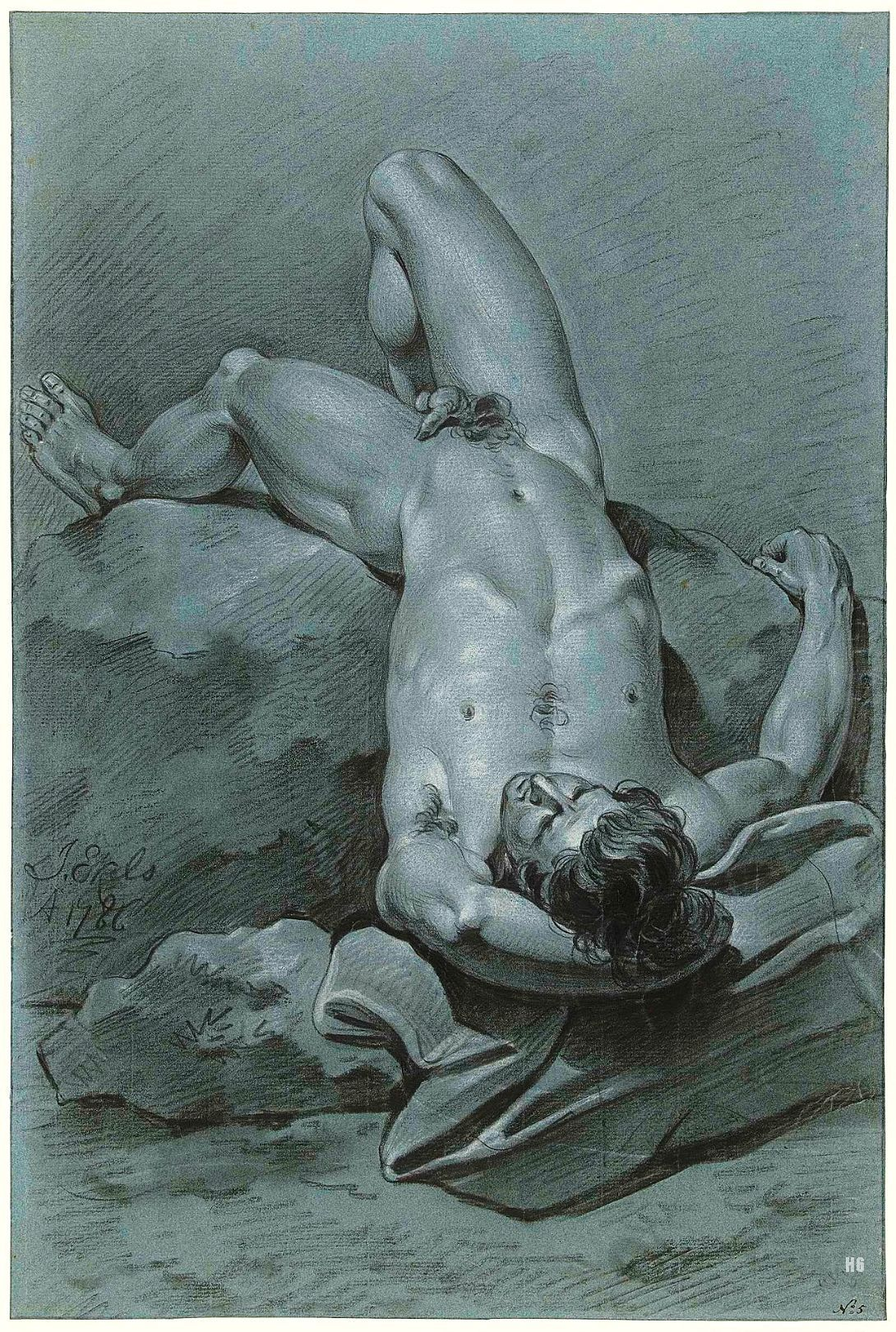 Phrase Reclining male nude
