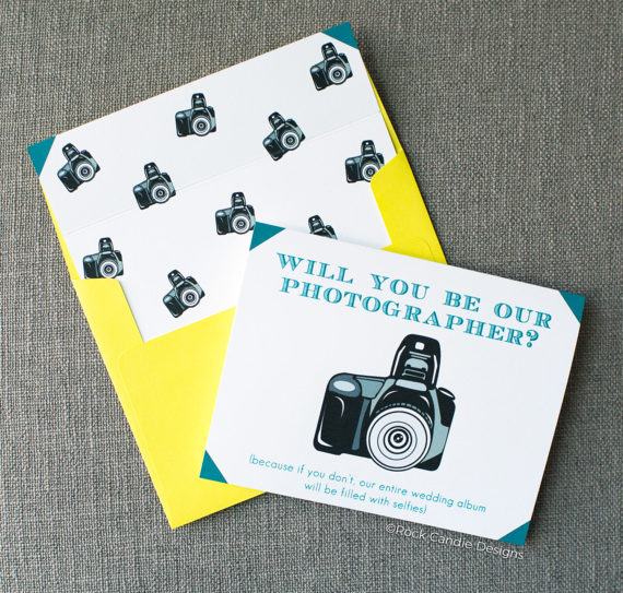 Rock Candie Designs Will you Be Our Photographer (because if you don't, our entire wedding album will be filled with selfie's) Card is the perfect way to ask your photographer to photograph your wedding.
