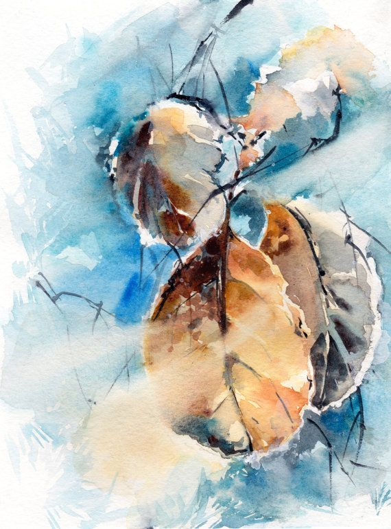 Original Watercolor Painting Frozen Leaves Watercolour Art