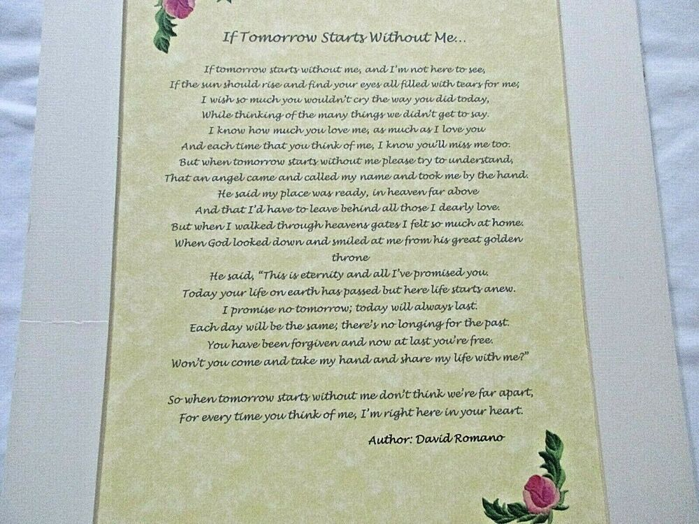 Park Art|My WordPress Blog_When Tomorrow Starts Without Me Poem Framed