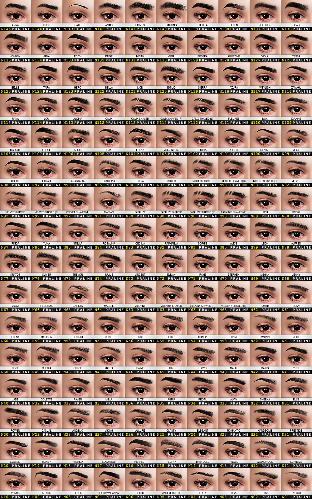 Photo of EYEBROW Ultimate Collection | Pralinesims on Patreon