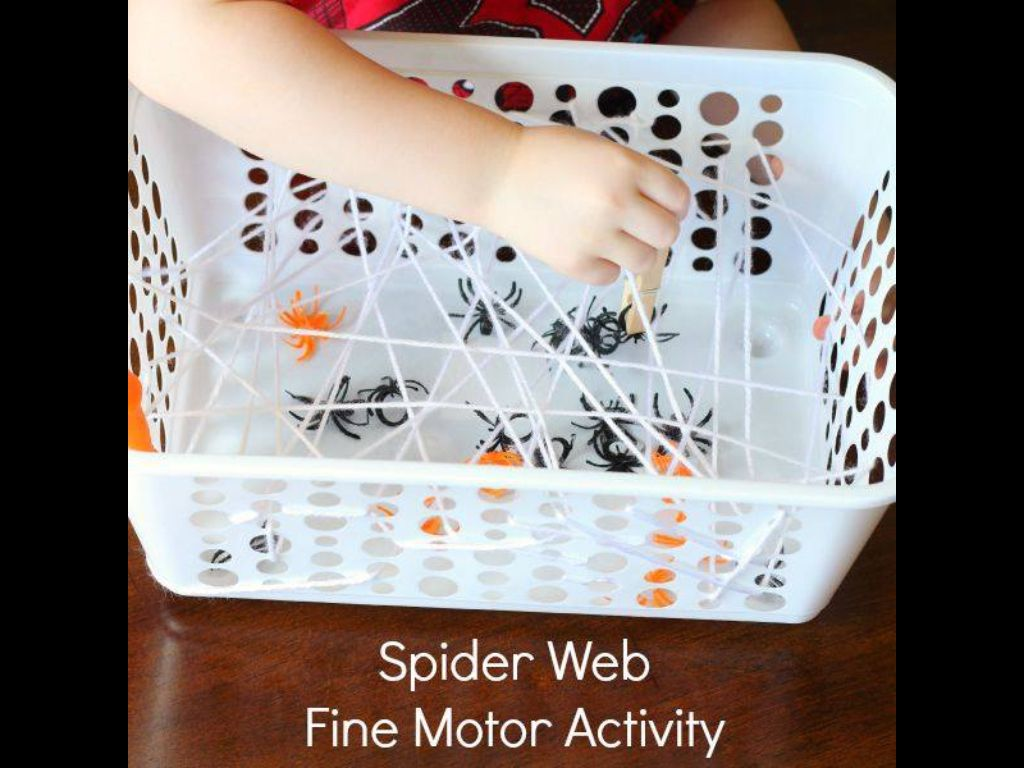 Spider Web Fine Motor Activity Finger Gym Fun October Halloween