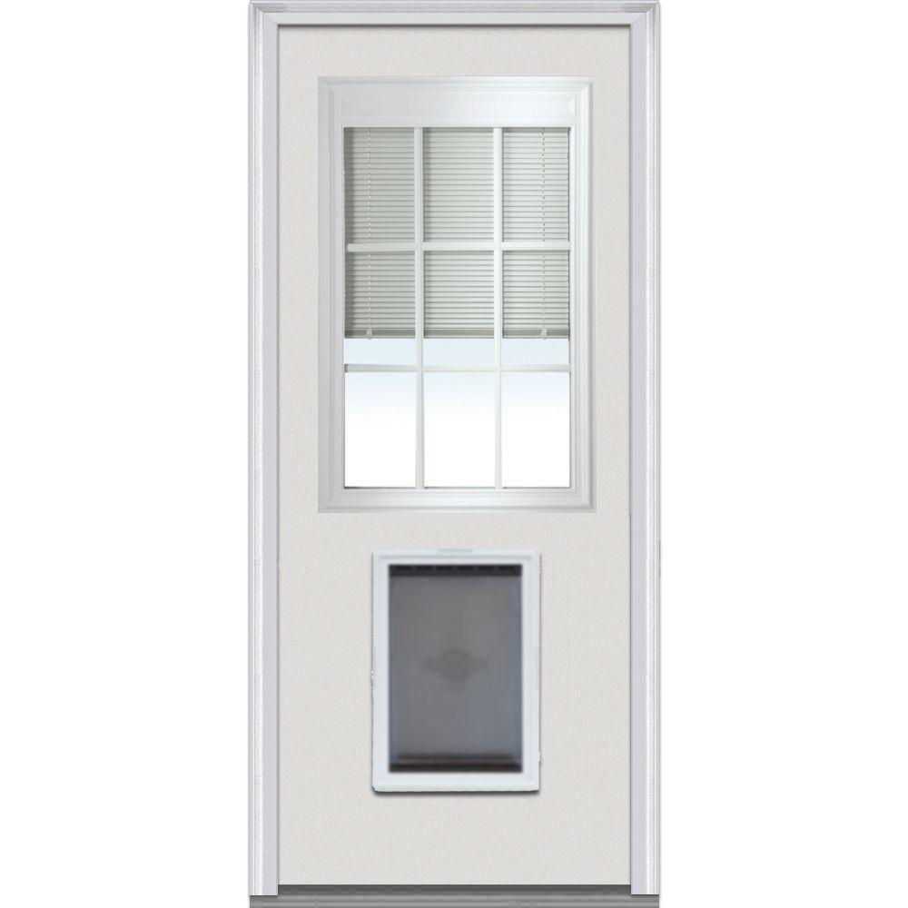MMI Door 34 In. X 80 In. Internal Blinds And Grilles Right Hand 1/2 Lite  Classic Primed Steel Prehung Front Door With Pet Door