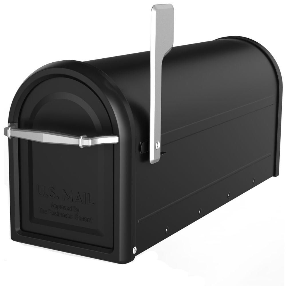 Architectural Mailboxes Chadwick Nickel Accents Black Post Mount Mailbox 8950b 10 The Home Depot Mounted Mailbox Architectural Mailboxes Post Mount