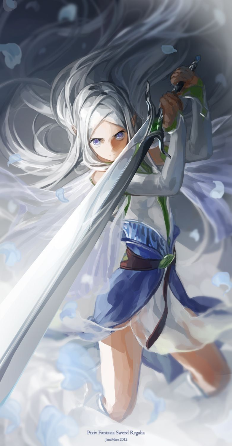 Haired white anime boy with sword new photo