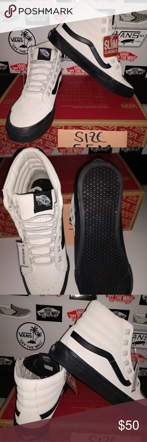 919d32dada8 VANS SK8-HI SLIM SIZE 5.5 MEN S 7.0 WOMAN S BRAND NEW AUTHENTIC VANS WITH  BOX AND STICKERS ATTACHED SAME DAY SHIPPING (studs) marshmallow black color  100% ...