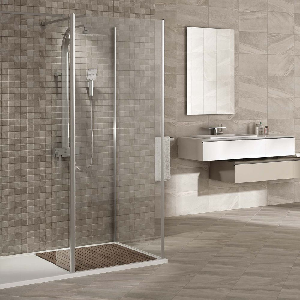 Oceania Stone Grey Wall Tiles Now At Victorian Plumbing Mosaic Wall Tiles Grey Wall Tiles Grey Bathroom Tiles