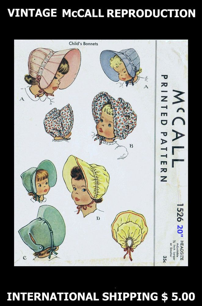 "Baby BONNET Vintage  McCall Fabric Material Sewing Pattern Sz 19/"" #1526"
