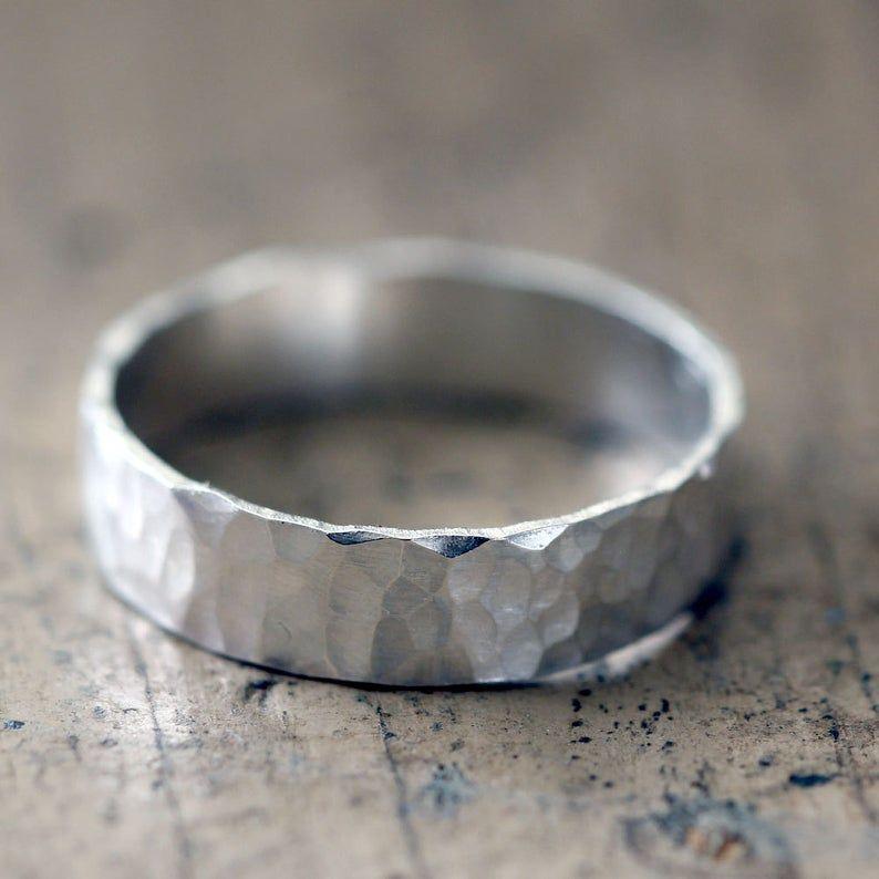 Hammered Bands Wedding Ring Set   Etsy in 2020   Hammered wedding rings,  Sterling silver wedding rings, Wedding ring sets