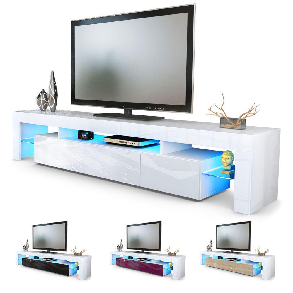 Tv Unit Stand Cabinet Lima V2 Led 2 Doors 189cm White High Gloss  # Meuble Tv Lima