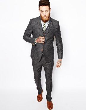 ASOS Slim Fit Suit in Herringbone Grey | Mariage | Pinterest ...