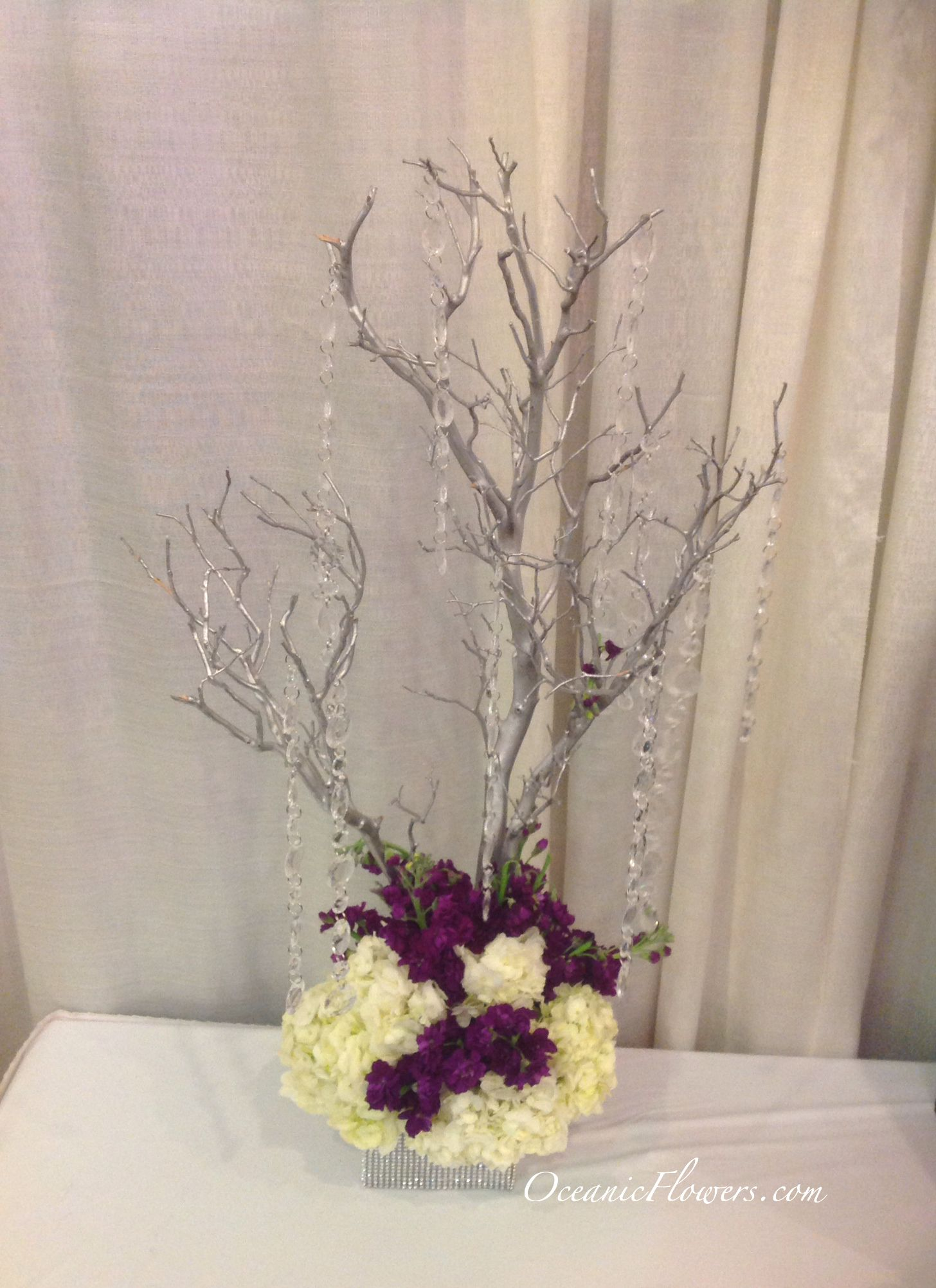 Purple and White Large Centerpiece, Manzanita Tree with Hanging Crystals